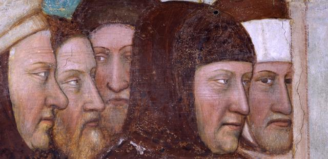 Altichiero, San Giorgio battezza Servio re di Cirene, 1379-1384 (part. Ritratto di Petrarca)