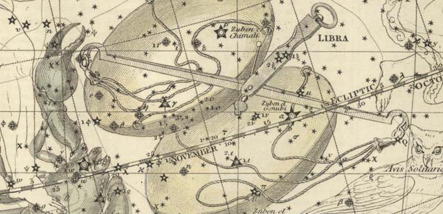 Alexander Jamieson, Celestial Atlas, Plate 19: Libra, Scorpio, part. (1822)